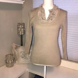 Taupe V-neck Sweater with ruffle collar - Medium